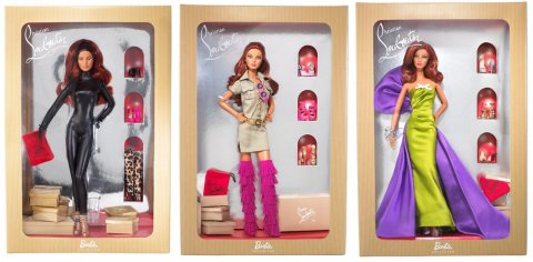 "Barbie panenky Christian Louboutin, zleva ""Cat Burglar"", ""Doll For Ever"" a ""Anemone"""